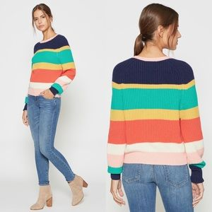 Joie Rainbow Wool Cashmere Striped Sweater Size S